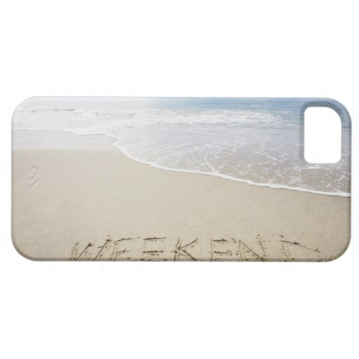 USA, Massachusetts, Word ''weekend'' drawn on iPhone 5 Covers