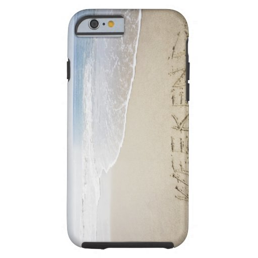 USA, Massachusetts, Word ''weekend'' drawn on iPhone 6 Case