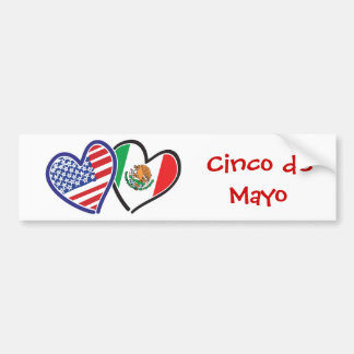 USA Mexico Heart Flags Bumper Sticker