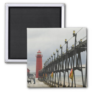 USA, Michigan, Lake Michigan Shore, Grand Haven: Square Magnet