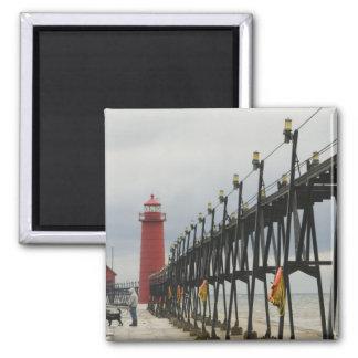 USA, Michigan, Lake Michigan Shore, Grand Haven: Square Magnet