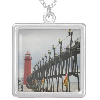USA, Michigan, Lake Michigan Shore, Grand Haven: Square Pendant Necklace