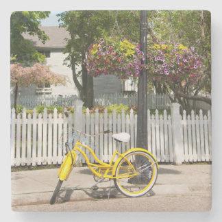 USA, Michigan, Mackinac Island. Yellow Bike Stone Coaster