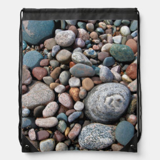USA, Michigan. Polished Pebbles On The Shore Backpack