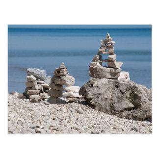 USA, Michigan. Stone Towers On The Beach Postcard