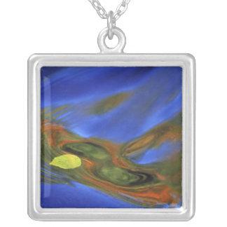 USA, Michigan, Upper Peninsula, birch leaf in Square Pendant Necklace