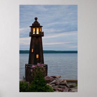 USA, Michigan. Yard Decoration Lighthouse Posters