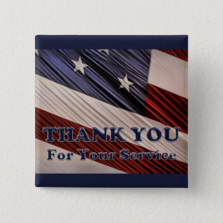 USA Military Veterans Patriotic Flag Thank You 15 Cm Square Badge