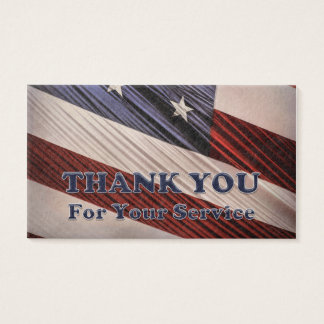 USA Military Veterans Patriotic Flag Thank You Business Card
