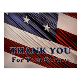 USA Military Veterans Patriotic Flag Thank You Postcard
