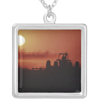 USA, Mississippi, disking cotton field Square Pendant Necklace