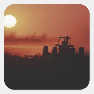USA, Mississippi, disking cotton field Square Sticker