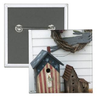 USA, Missouri, Herman: Patriotic Birdhouses, 15 Cm Square Badge