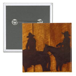 USA Montana Boulder River Cowboys on horses Button