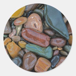 USA, Montana, Clark Fork River, Stones Round Sticker