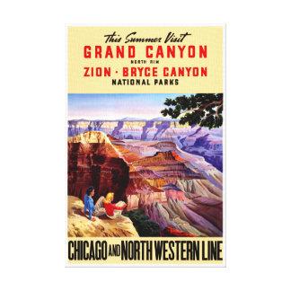 USA National Parks Vintage Poster Restored Canvas Print