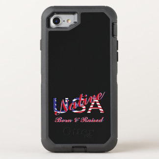 USA Native Born and Raised Red White Blue OtterBox Defender iPhone 8/7 Case