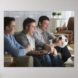 USA, New Jersey, Jersey City, three men watching Poster