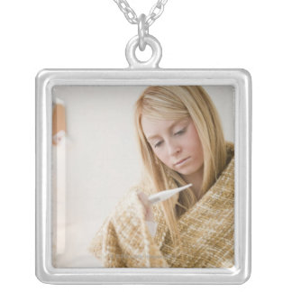 USA, New Jersey, Jersey City, woman wrapped in Silver Plated Necklace
