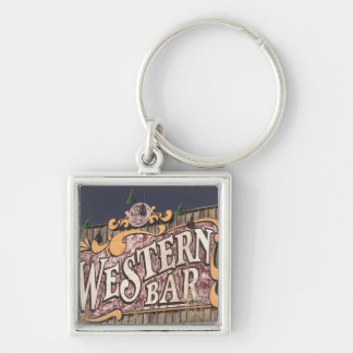 USA, New Mexico, Cloudcroft: Mountain Town (el. Silver-Colored Square Key Ring