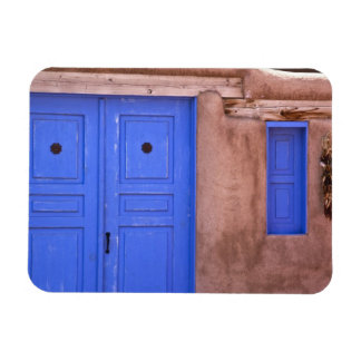 USA, New Mexico, Santa Fe. View of blue door and Magnet
