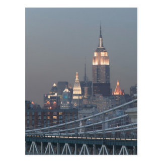 USA, New York City, View of Manhattan Bridge, Postcard