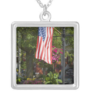 USA, New York, Lewiston. American flag attached Square Pendant Necklace