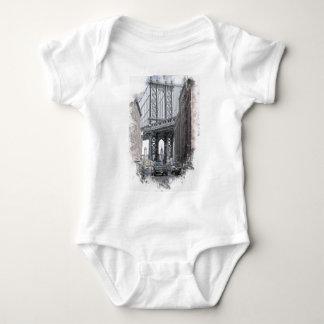 Usa New York Manhattan Manhattan Bridge Skyline Baby Bodysuit