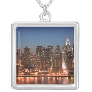 USA, New York, New York City, Manhattan: Aerial Square Pendant Necklace
