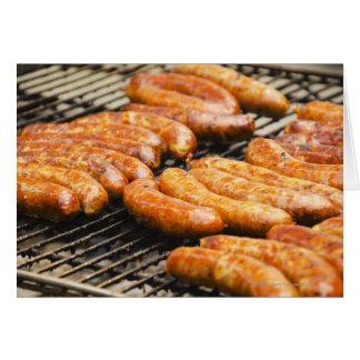 USA, New York, New York City, Sausages on Card