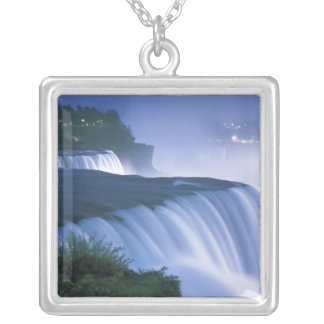 USA, New York, Niagara Falls. American Falls in Silver Plated Necklace