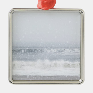 USA, New York State, Rockaway Beach, snow storm Metal Ornament