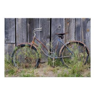 USA, Oregon, Bend. A dilapidated old bike Poster