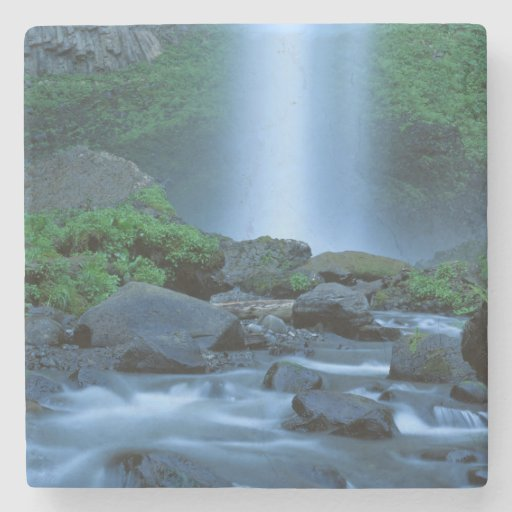 USA, Oregon, Columbia Gorge, Latourell Falls Stone Beverage Coaster