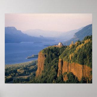 USA, Oregon, Columbia River. Sunset at Crown Poster