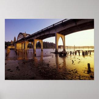 USA, Oregon, Florence. Siuslaw Bridge and Poster