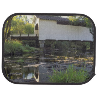 USA, Oregon. Harris covered bridge over Marys Floor Mat