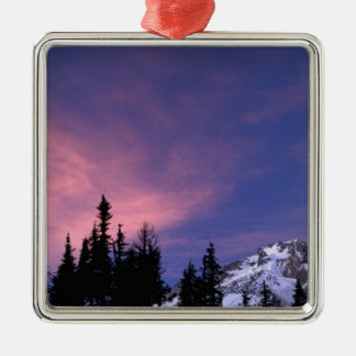 USA, Oregon, Mount Hood from Timberline Silver-Colored Square Decoration