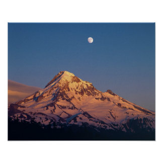 USA, Oregon, Mt Hood. Sunset creates alpenglow Poster
