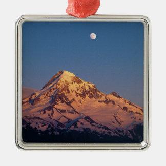 USA, Oregon, Mt Hood. Sunset creates alpenglow Silver-Colored Square Decoration