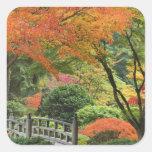 USA, Oregon, Portland. Wooden bridge and maple Square Stickers