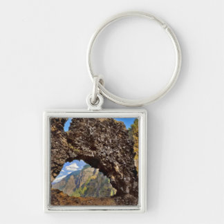 USA, Oregon. Rock Of Ages Arch In Columbia River Silver-Colored Square Key Ring