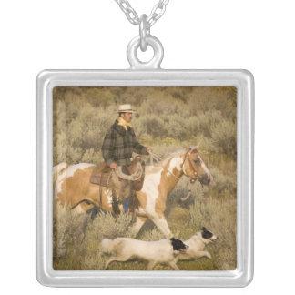 USA, Oregon, Seneca, Ponderosa Ranch. A cowboy Square Pendant Necklace