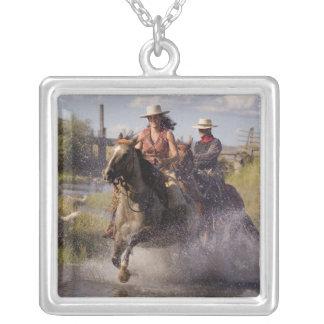 USA, Oregon, Seneca, Ponderosa Ranch. Cowboy 2 Square Pendant Necklace