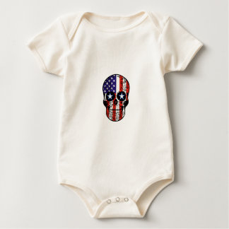 USA Patriotic American Flag Sugar Skull Baby Bodysuit