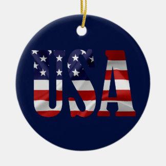 USA Patriotic Ceramic Ornament
