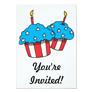 USA patriotic cupcakes 13 Cm X 18 Cm Invitation Card