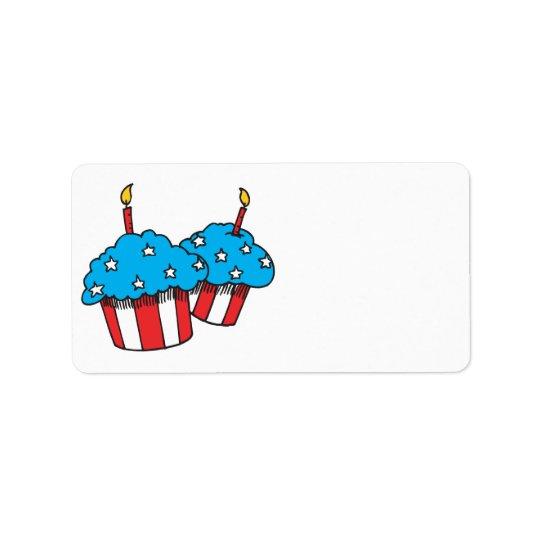USA patriotic cupcakes Address Label