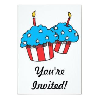 USA patriotic cupcakes 13 Cm X 18 Cm Invitation Card
