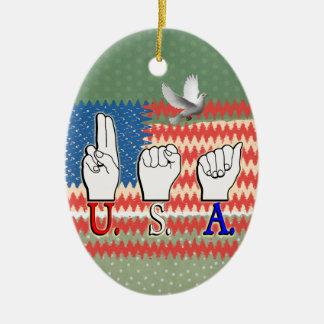 USA PATRIOTIC DEAF ASL FLAG CHRISTMAS ORNAMENTS